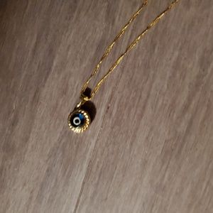 "Egyptian evil eye necklace on 18"" 14kt gold chain"